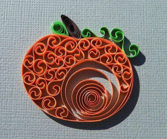paper pumpkin: paper quilling design. unique gift, home décor item { paper quill art } halloween fall season pumpkin Celebrate the fall