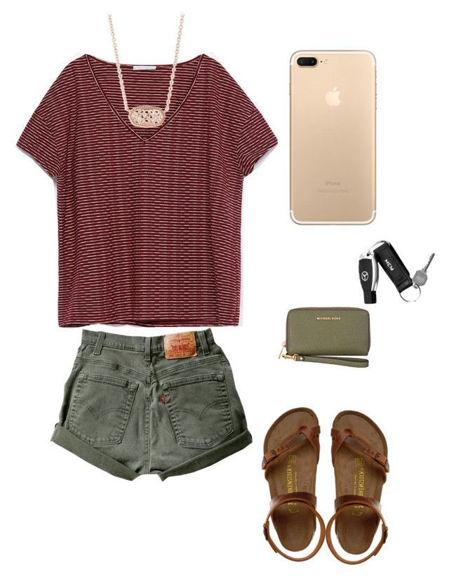 """Untitled #328"" by lizakappil on Polyvore featuring Birkenstock, Zara, Kendra Scott, Michael Kors and Mark & Graham"