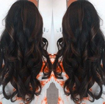 Dark Long Curls with Brown Highlights