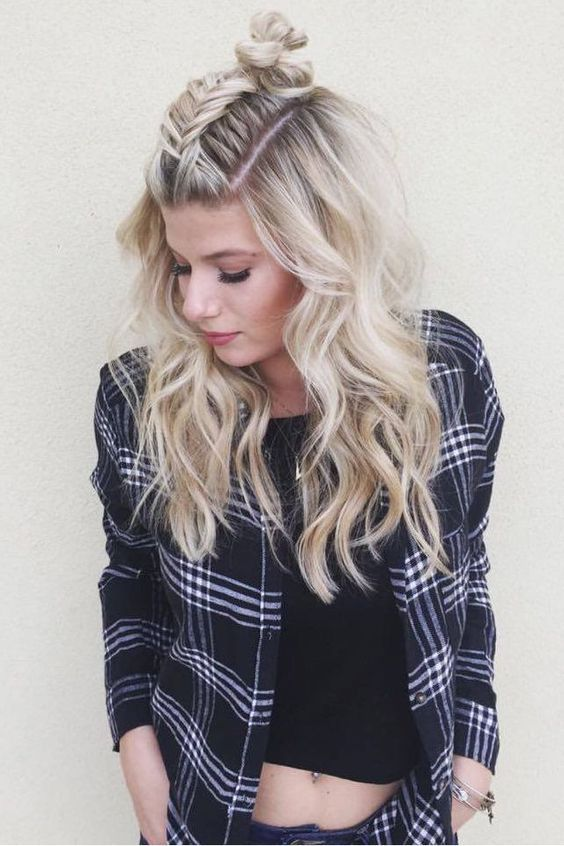 fishtail twist on the popular topknot hairstyle