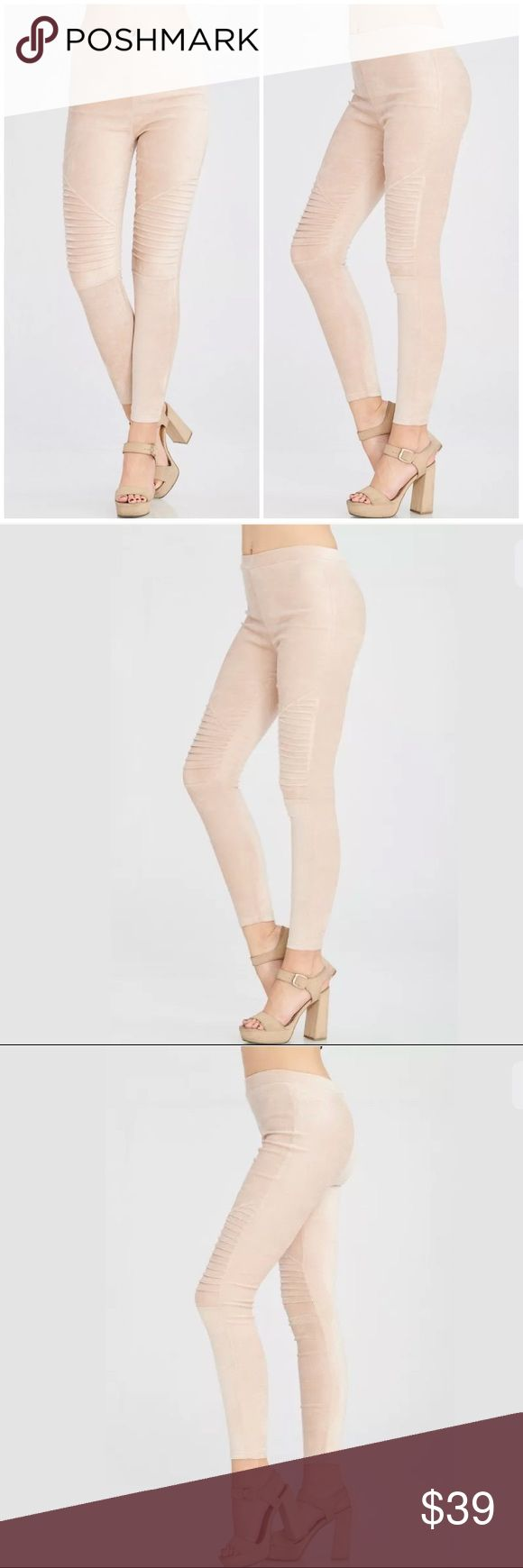 Light Taupe Faux Suede Moto Stretch Leggings Featuring a gorgeous pair of faux suede mid rise leggings with pintucks at the knee creating a trendy moto style look. Soft stretchy and comfortable. Full long length.   Available in an array of colors in our store!   Made of: 92% Polyester & 8% Spandex Pants Leggings