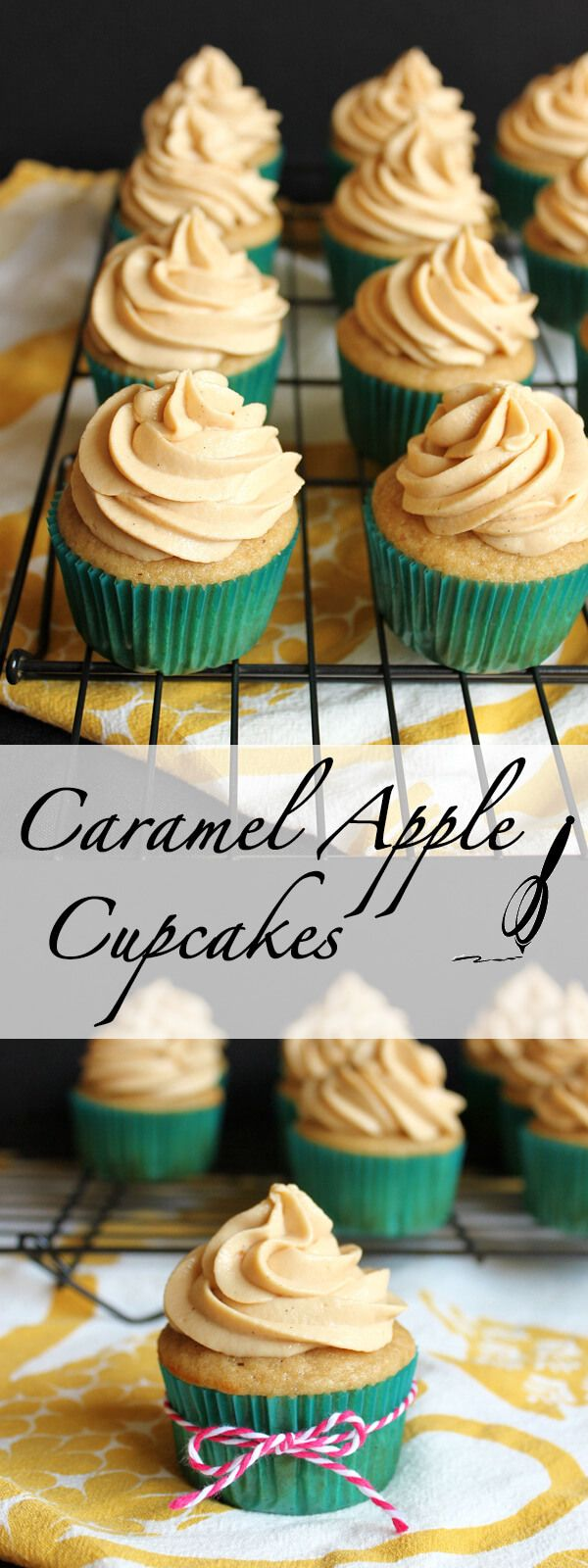 These Caramel Apple Cupcakes are the perfect treats for Autumn. The sticky homemade Dulce de Leche filling gives them an extra special touch. | wildwildwhisk.com