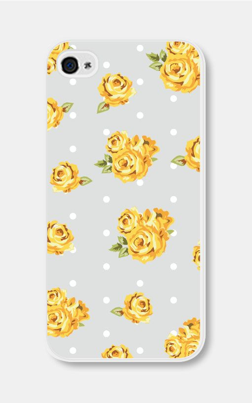 Yellow and Grey Floral iPhone 5 Case Plastic iPhone