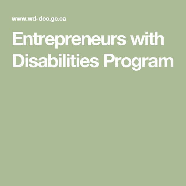 Entrepreneurs with Disabilities Program