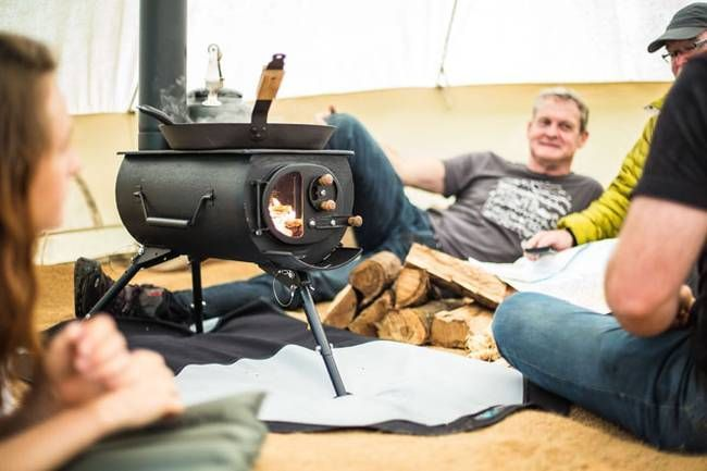 The Frontier Plus and made by Cornwall, UK based company Anevay, this lightweight stove features a larger flue than other portable wood stoves, as well as a glass window on its front door.