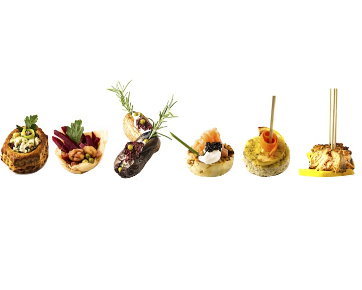 Vol au vants filo baskets mini potatoes canapes skewers for Cheap wedding canape ideas