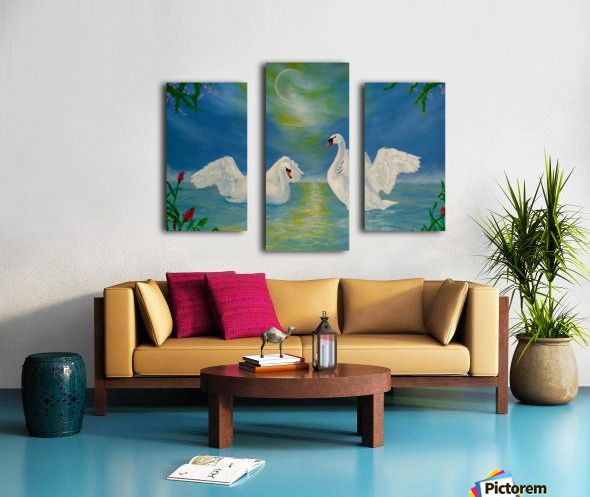 Lake, theme, Home Decor, ideas, for sale, painting, art, Triptych, 3 split,  stretched, canvas, multi panel, prints