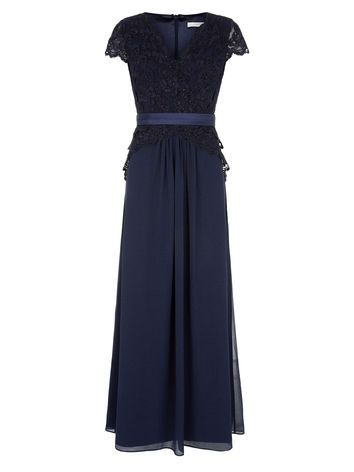 Navy Lace Chiffon Gown