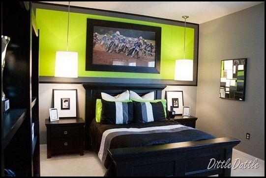 Cool-Teen-BedroomBedrooms Lights, Teen Rooms, Boy Rooms, Diy Teen Boys Bedroom, Colors Schemes, Limes Green, Pendant Lights, Pendants Lights, Boys Room