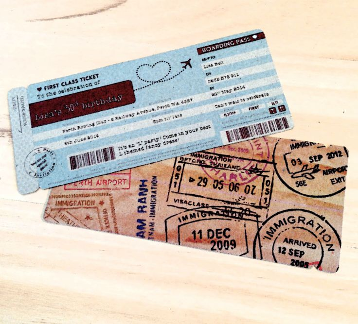 Cool take on an invite design - the boarding pass! Who doesn't like the 'travel' theme?
