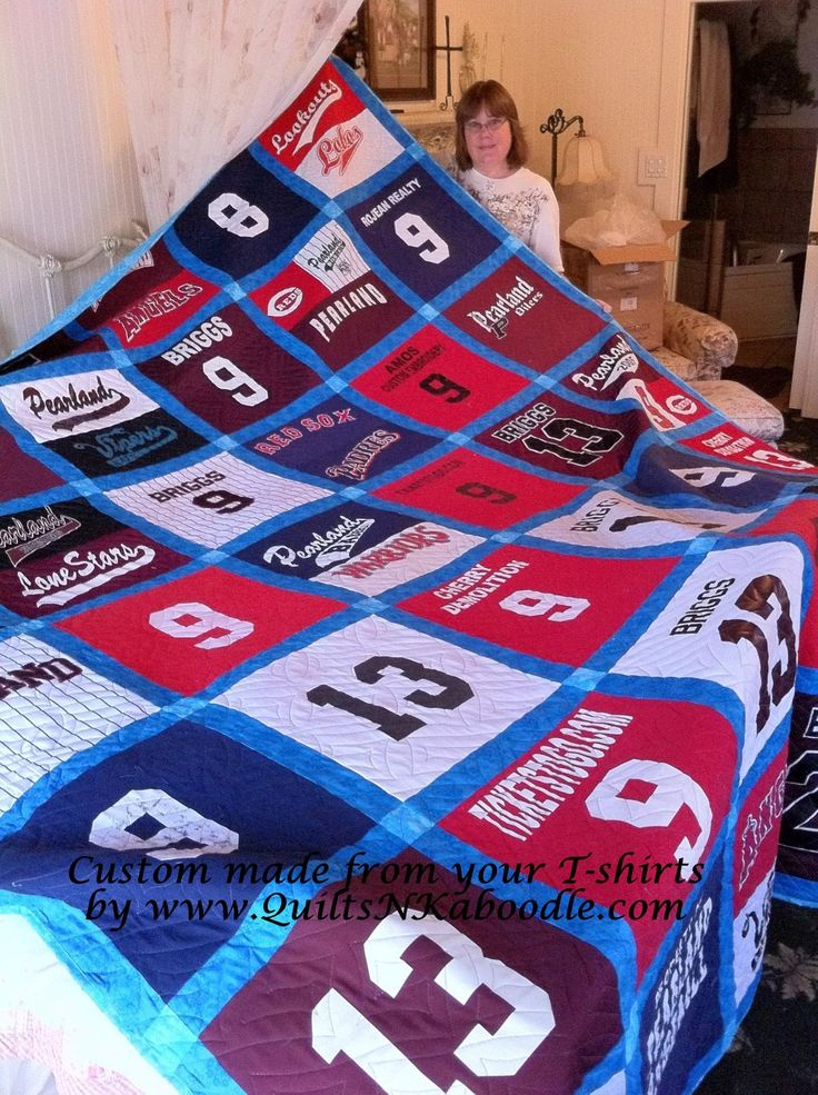 Save all the sports uniforms and make a quilt...I will do this for Dom when he's older