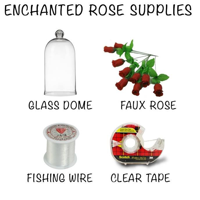 Enjoy a fabulous Beauty and the Beast inspired addition to your home with these simple supplies. Fasten the fishing wire underneath the petals before taping it to the inner top of the dome. (If you really want you get into it, string some fairy lights around the rose!)
