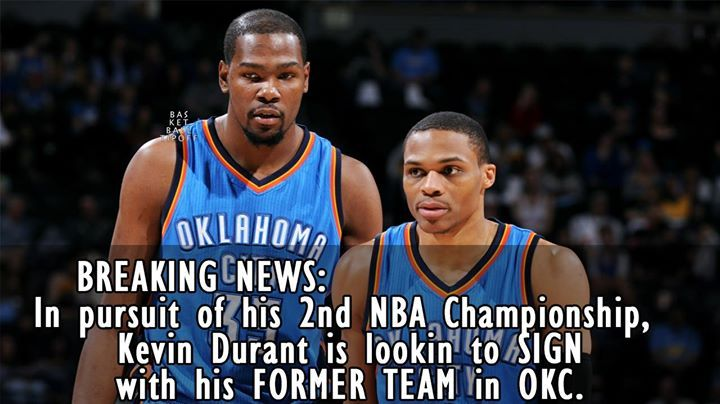 Kevin Durant could be on this same OKC team.  If KD waited 1 year. Westbrook Paul George Kevin Durant Carmelo Anthony and Steve Adams would be the starting five.  But he was selfish!  Source STEVE HARVEY.