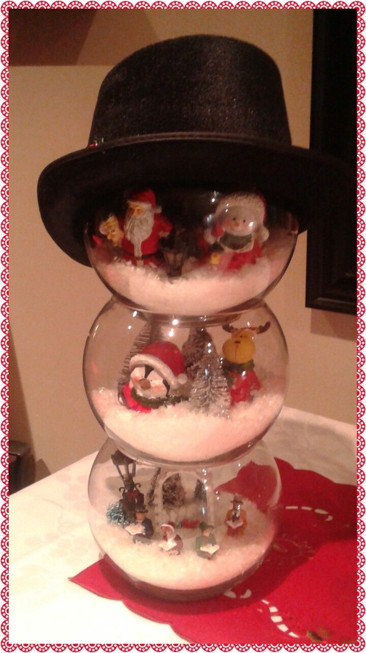 Fish bowl scenes snowman... very festive for any table!  All dollarama store items