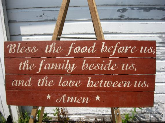 Primitive Wedding Sign Bless the food before by DedesCountryCrafts, $45.99
