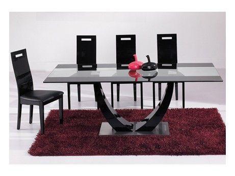 Mesa de comedor MEZZO - MDF lacado negro. Estaría dispuesta a una rectangular si fuera como esta.
