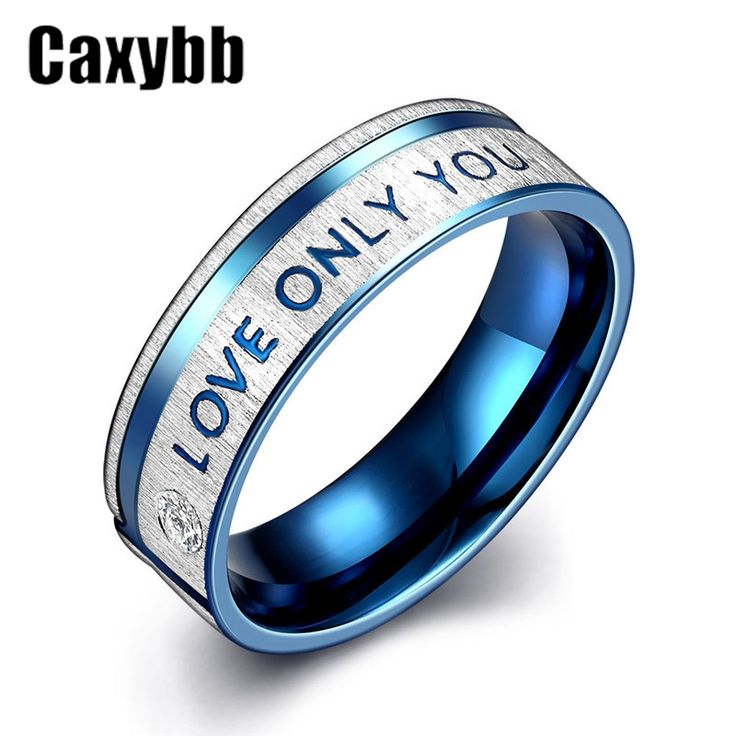 """Gaxybb Fashion Jewelry 316L Stainless Steel Simple Circle """"I Love Only You"""" Couple Rings Wedding Ring for women ring Men 's ring"""
