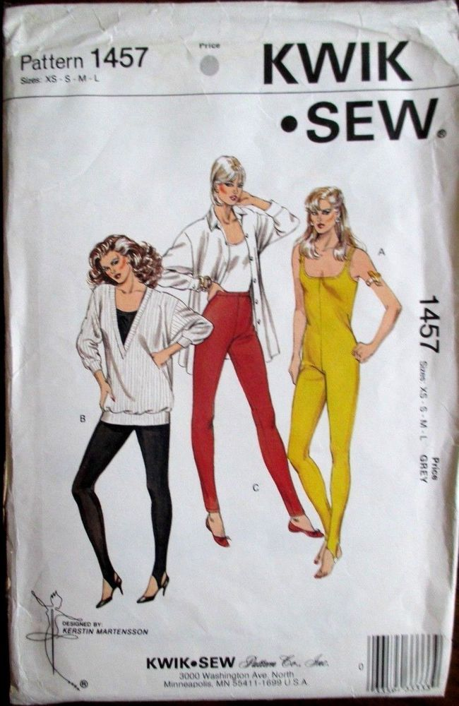 Kwik*Sew  Sewing Pattern no.1457  LADIES GYM WEAR Size XS-S-M-L UNCUT #KwikSew #Patterns