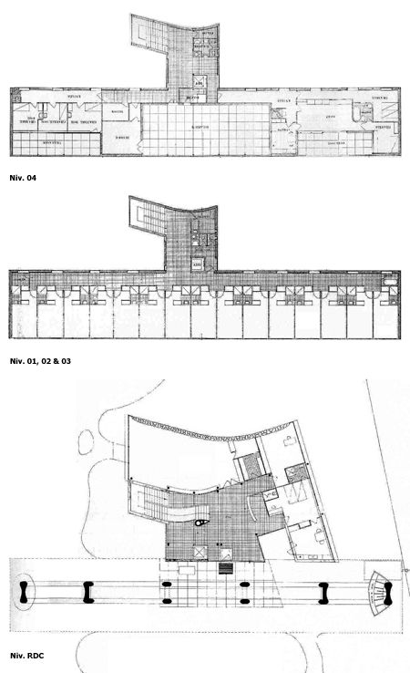 Pavillon Suisse, Cité Internationale Universitaire. Paris. Le Corbusier. Plans