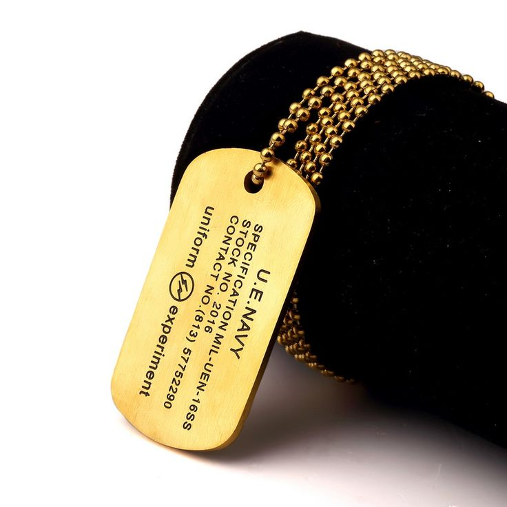 NYUK New Men's Jewelry Army Style Titanium Steel Black/Gold/Silver Dog Tags Polished Army Military Pendant Necklace For Gifts