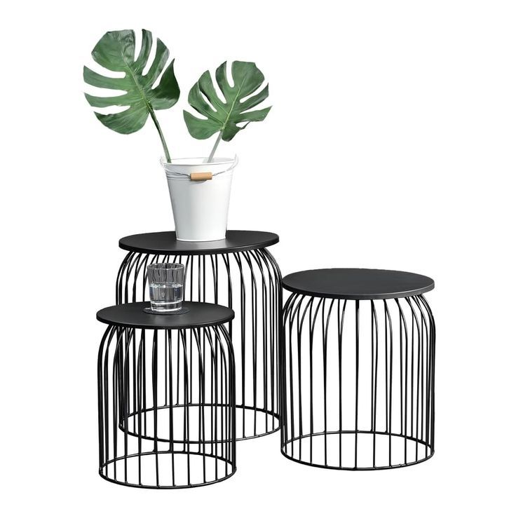 En Casa Metallkorb Im 3er Set Design Beistelltisch Couchtisch Schwarz Metall Metal Baskets Metal Side Table Wooden Side Table