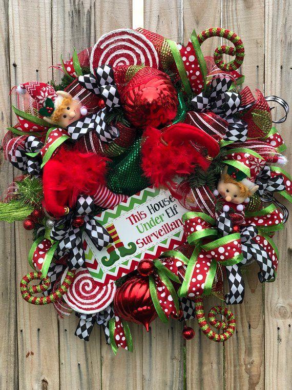 Elf Wreath,Elf Surveillance Wreath,Christmas Deco Mesh Wreath,Elf Legs,Naughty Or Nice Wreath,Whimsical Wreath,Christmas Elf Decorations