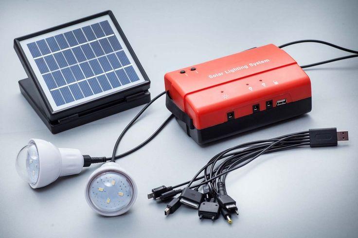 Przenośny zestaw solarny - power bank + ogniwo + oświetlenie