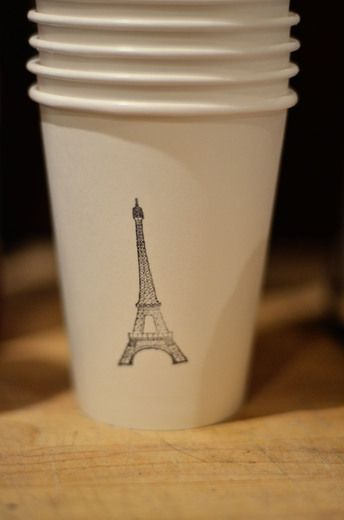 DIY decorations  White paper cups  - use a stamp and ink to put an eiffel tower or other cute images, you culd do differnt images for every cup so ppl will know which cup is thiers