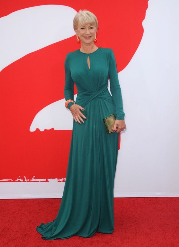 Helen Mirren at the Los Angeles premiere of RED 2  ~~ A perfect example of the necessity of a good bra in your mature years!  Gorgeous! ~~