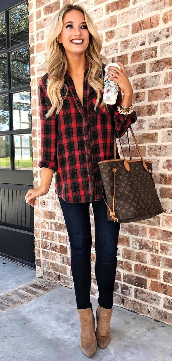 #winter #outfits black and red check long-sleeved collared top