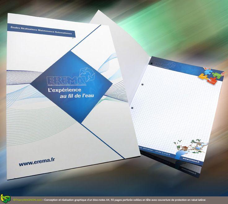 Conception et réalisation graphique d'un bloc-notes A4, 50 pages perforée collées en tête avec couverture de protection en rabat latéral.