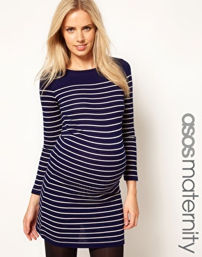 Enlarge ASOS Maternity Exclusive Knitted Dress In Breton Stripe