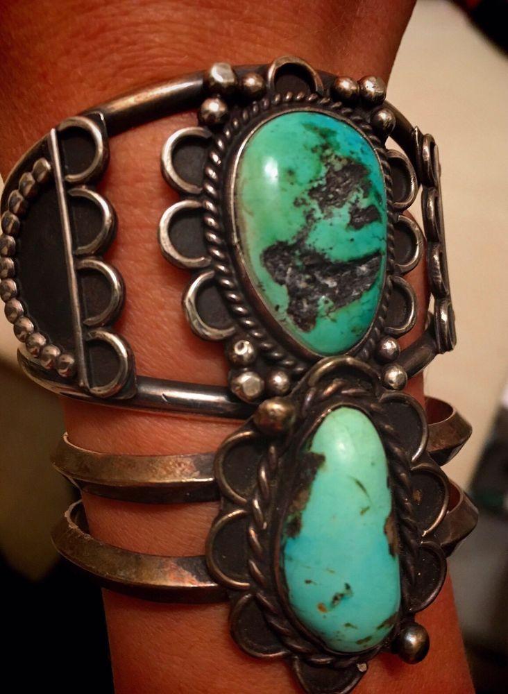 Old Pawn Vintage Native Southwest Sterling Silver Turquoise  Cuff Bracelets Lot