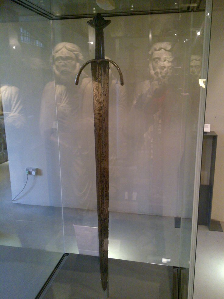 The Cawood sword on display at the Yorkshire Museum, York, UK (Viking sword, nearly 1,000 years old)
