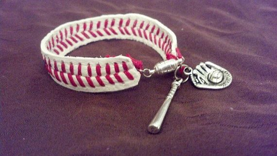 Hey, I found this really awesome Etsy listing at https://www.etsy.com/listing/152810981/baseball-bracelet-buy-3-get-1-free