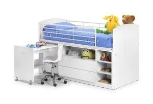 LEO MID SLEEPER KIDS SINGLE BED in White with Shelving Storage and Pull Out Desk