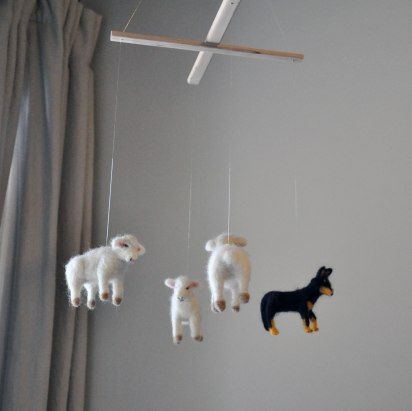 Annex Suspended Sheep Dog - Custom Handmade Hanging Mobile - Nursery Room Neutral Art