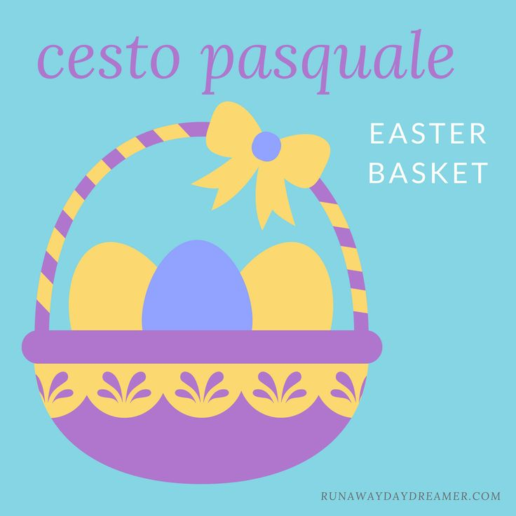 "Let's review some Easter vocabulary in Italian!  Did you know that we call Easter basket ""cesto pasquale"" or ""cesto di Pasqua""?  - Cesto pasquale fatto a mano (Handmade Easter basket)   - Cesto pasquale pieno di uova (Easter basket filled with eggs)   - Cesto di Pasqua fai da te (DIY Easter basket)"