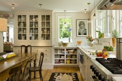 Light and airy farmhouse kitchen. Open shelves, built in china cabinet, farm-style sink and lots of windows and natural light.: Decor, White Kitchen, Built In, Traditional Kitchens, Kitchen Design, Country Kitchen, Farmhouse Kitchens, Kitchen Ideas
