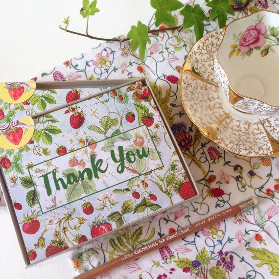 Strawberries Boxed Set of 6 Thank You Note by strawberrysnail