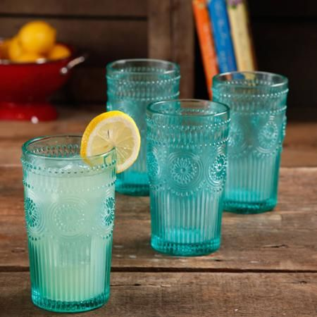 The Pioneer Woman Adeline 16-Ounce Emboss Glass Tumblers, Set of 4 - Walmart.com Need 2 sets
