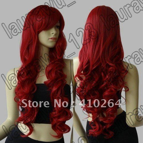 $wholesale_jewelry_wig$ free shipping Long Heat Resistant Big Spiral Curl Dark Red Cosplay Wig $18.90