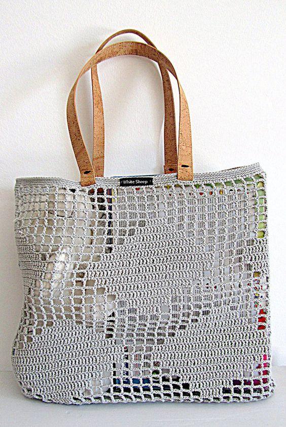 Fatto a mano borsa-Tote Light Grey CROCHET con di WhiteSheepShop:
