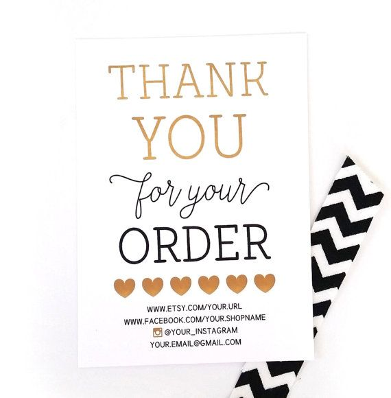 thank you for your order shop owner thank you cards