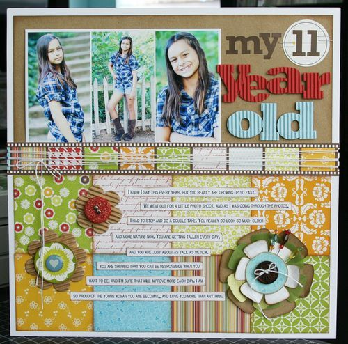 scrapbook layout: Scrapbook Ideas, Scrapbook Inspiration, Kids Birthday, Photo Layout, Gifts Ideas, Paper Flowers, Birthday Scrapbook Layout, 11 Years, Jillibean Soups