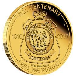 The Australian RSL Centenary 2016 1/4oz Gold Coin ( RSL is the Returned & Services League )