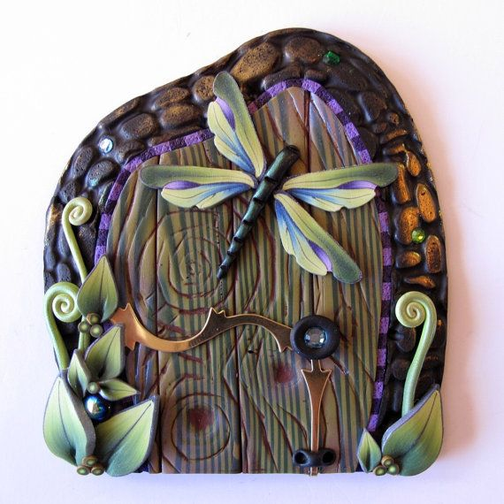 Green Goddess Dragonfly Fairy Door Pixie Portal by Claybykim, $21.00