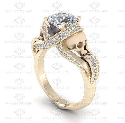 'Aphrodite' 1.85ct White Diamond Skull All Yellow Gold Engagement Ring