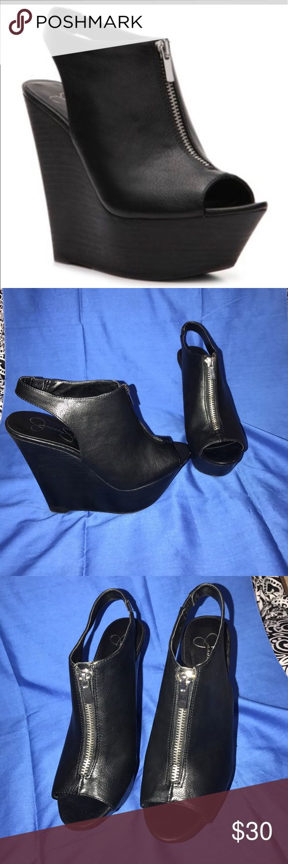 Jessica Simpson wedges size 7M Jessica Simpson wedges JP-Shavon size 7M. These wedges are super edgy and fancy. They do have flaws as shown in pictures of a small scuff in the front and on the side of the left shoe. Jessica Simpson Shoes Wedges