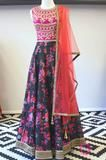 """Silk Embroidered blouse with floral ghera skirt  Please allow 6 - 8 weeks for this item to ship. If you need the piece sooner, please feel free to send us a note to see if we can accommodate a rush order. For a custom size, please select """"Custom"""" in each of the options. A measurement form will be sent via email after the order has been placed. Note: The same, exact specific floral fabric will most likely not be readily available at market, so colors/patterns may vary. The Studio East6 team…"""